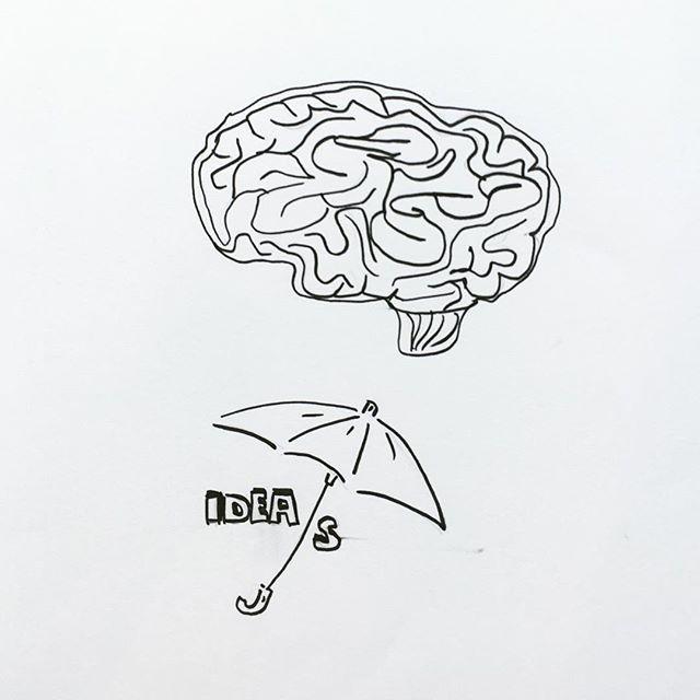 Illustration Gehirn Schirm