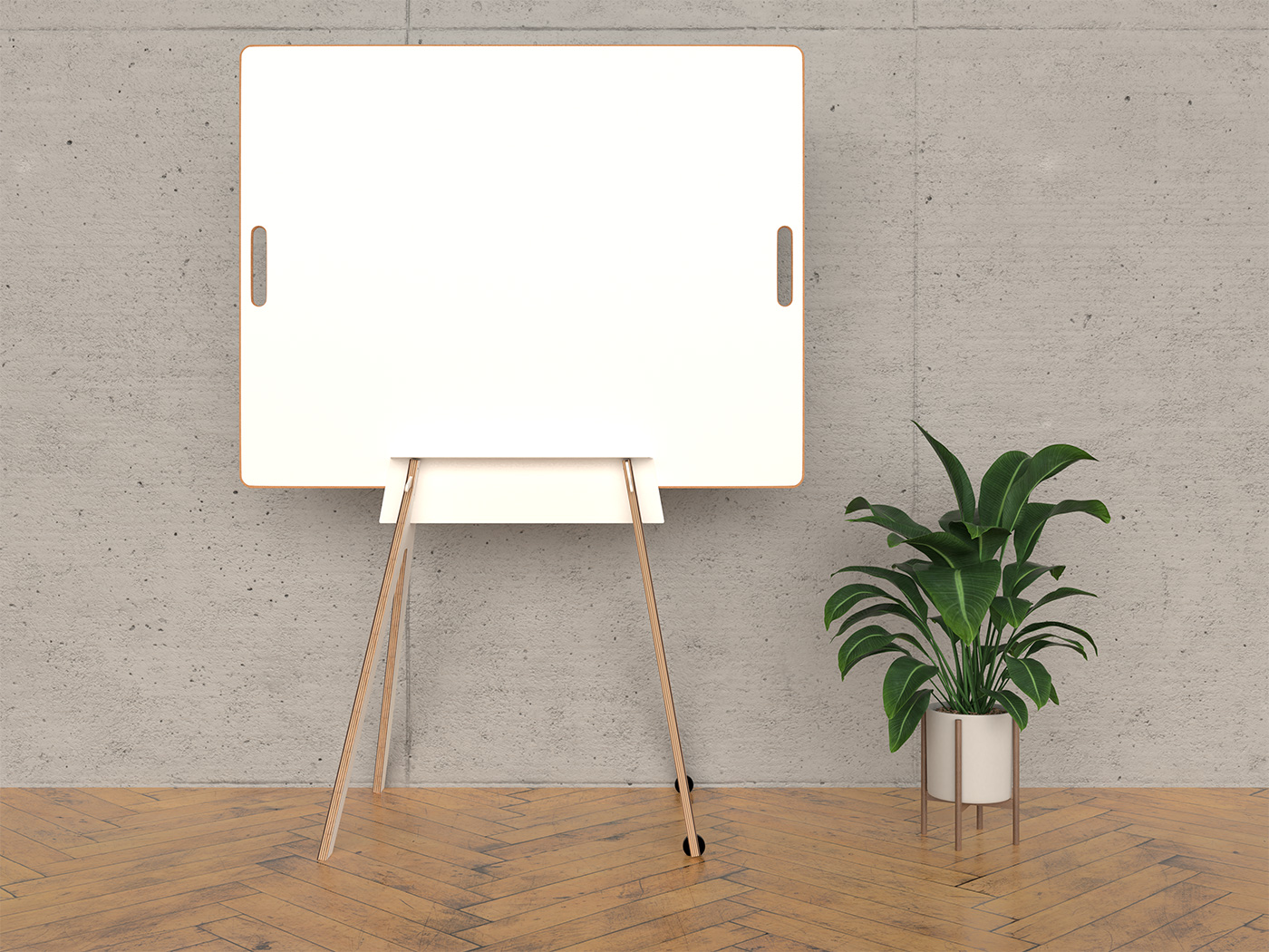 Design-Whiteboard in Gestell mit Pflanze